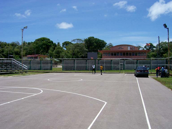 The newly refurbished Mayaro Basketball Court has been properly marked off.